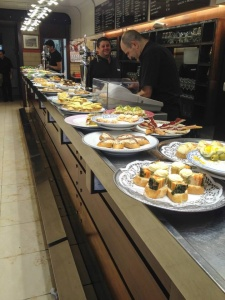 Pintxos out on the bar