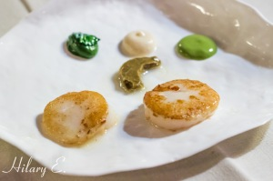 Ragout Grilled Scallop with Spinach